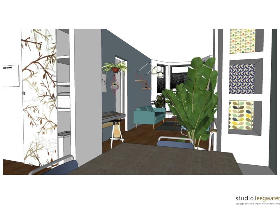 3D-impressie woonkamer De Nieuwe Emma 3 - Studio Leegwater ...
